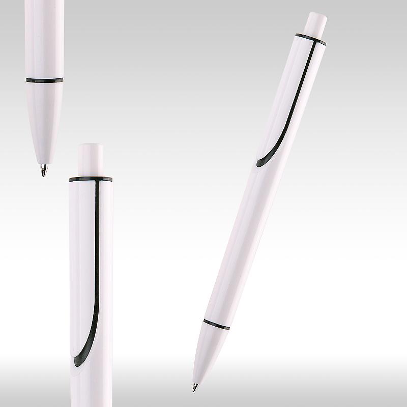 Химикалка бяла CLEAR с черни елементи