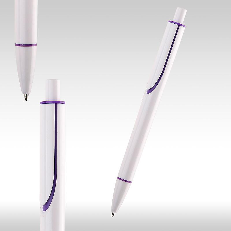 Химикалка CLEAR бяла с лилаво