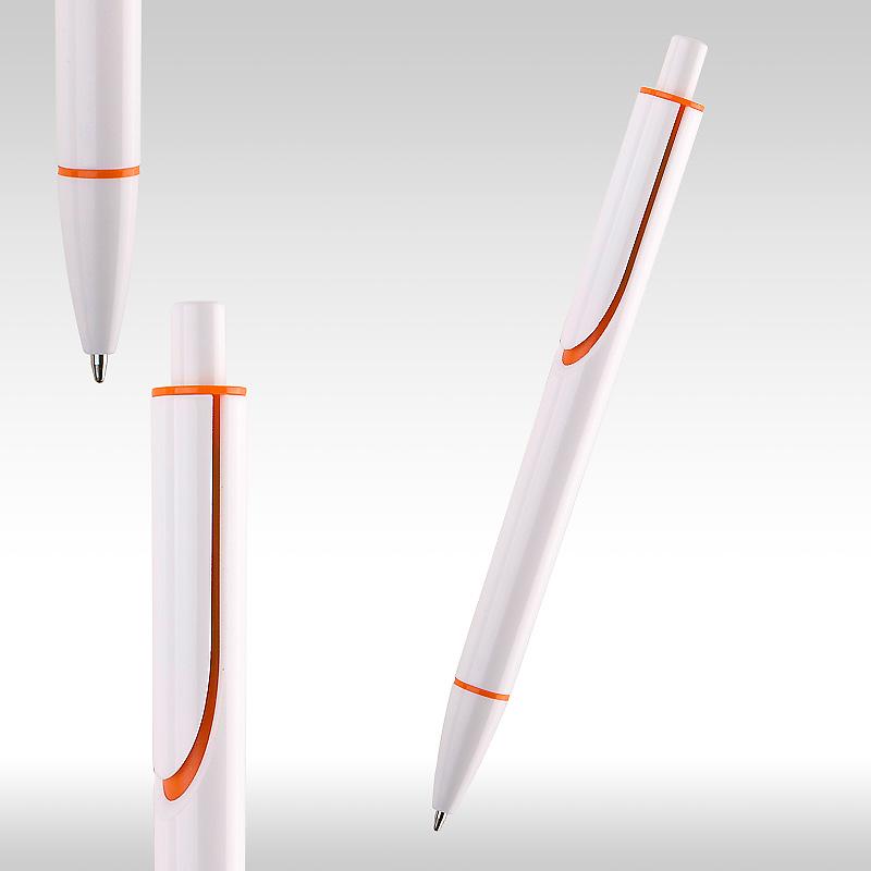 Химикалки CLEAR бяла с оранж