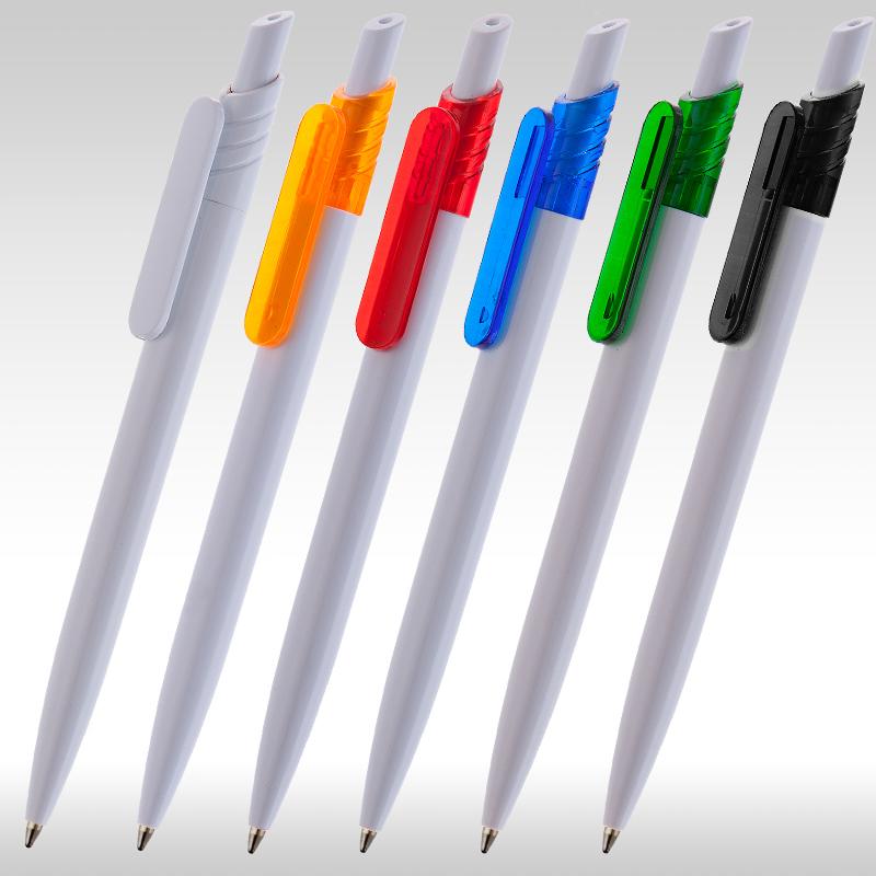 Рекламна химикалка 9008 бяла с цветен клипс, за реклама, на едро