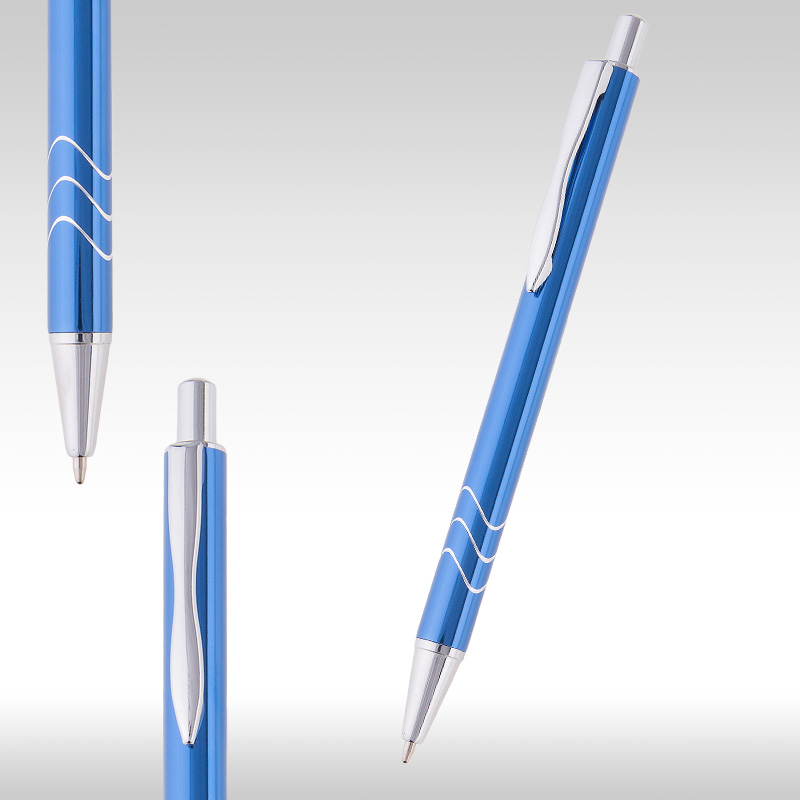 wave metal pen blue