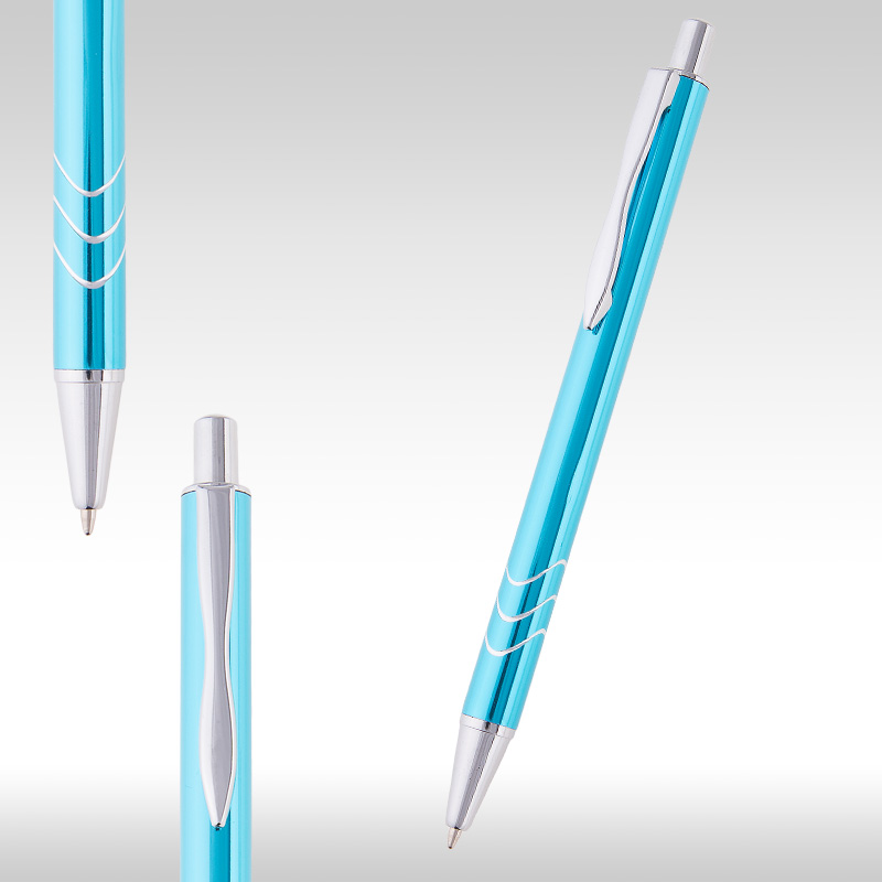 wave metal pen light blue